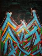 tableau abstrait peinture acrylique theme abstrait : champs de croix