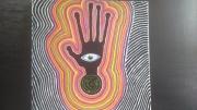 tableau abstrait main oeil labirhynte noir : alien