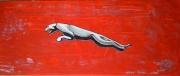 tableau abstrait jaguar rouge argent voiture : Jaguar