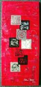tableau abstrait carre rouge argent noir : Feu et Carrés