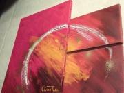 tableau abstrait abstrait univers rouge etoile : Univers rouge étoilé