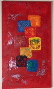 tableau abstrait rouge carre : Rouge et Caro