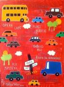 tableau villes enfant voiture garcon chambre : Les voitures TUT TUT