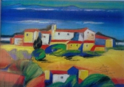 tableau paysages paysate jaune bleu sud : Sud
