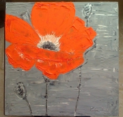 tableau fleurs fleur orange argent : Fleur orange grande