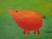 tableau animaux cochon pres vert pig : The Pig