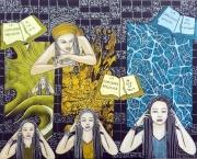 tableau personnages narratif figuratif acrylique toile : Les états de la conscience...
