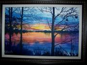 tableau : Lac le soir