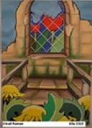 tableau architecture tulipe pissenlis vitrail escalier : Vitrail Roman