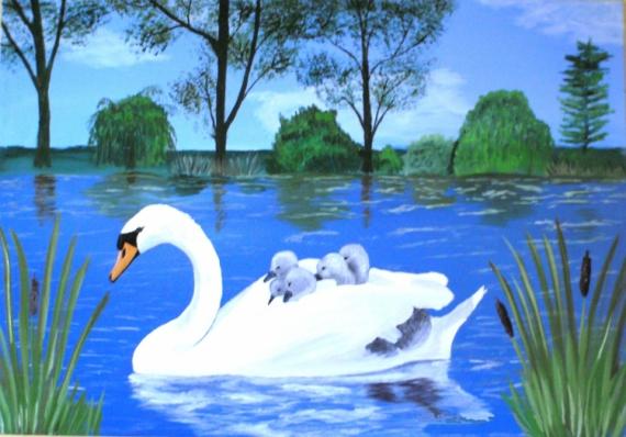 TABLEAU PEINTURE cygne oiseaux artiste Animaux Peinture a l'huile  - cygne