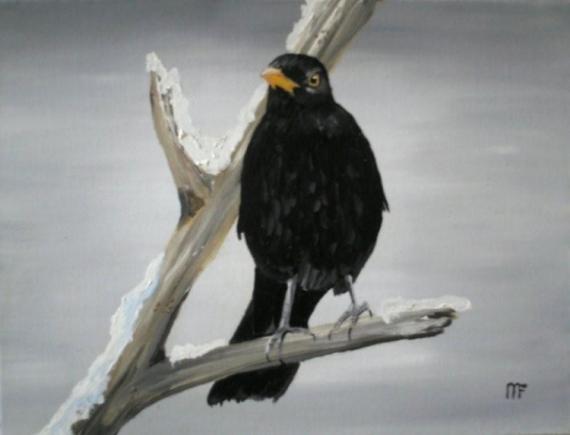 TABLEAU PEINTURE merle noir oiseaux artiste Animaux Peinture a l'huile  - merle noir