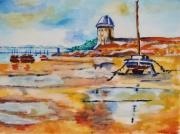 tableau marine : port à marée basse