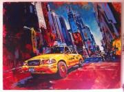 tableau villes new york ville times square taxi : Times Square