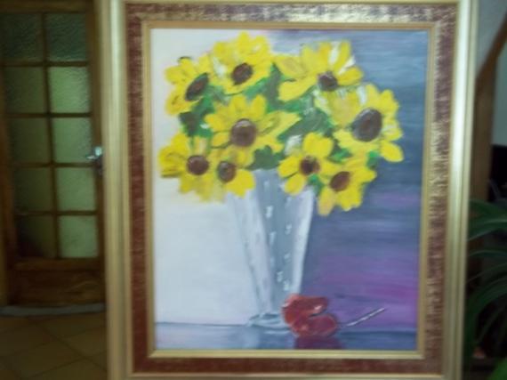 TABLEAU PEINTURE normandie Fleurs Peinture a l'huile  - les tournesols
