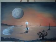 tableau paysages mer bateau coucher de soleil lune : la lune face au soleil