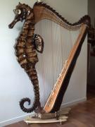 bois marqueterie marine harpe hippocampe art bois : la harpe hippocampe