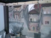 deco design villes trompe l oeil village art peinture : le village