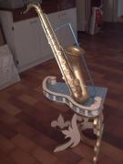 bois marqueterie autres saxophone musique art decoration : le saxophone