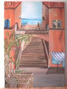 tableau villes escalier trompe l oeil geometrique art : l'escalier