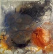 tableau abstrait abstrait poudre de micaresin orange brun : Faunus