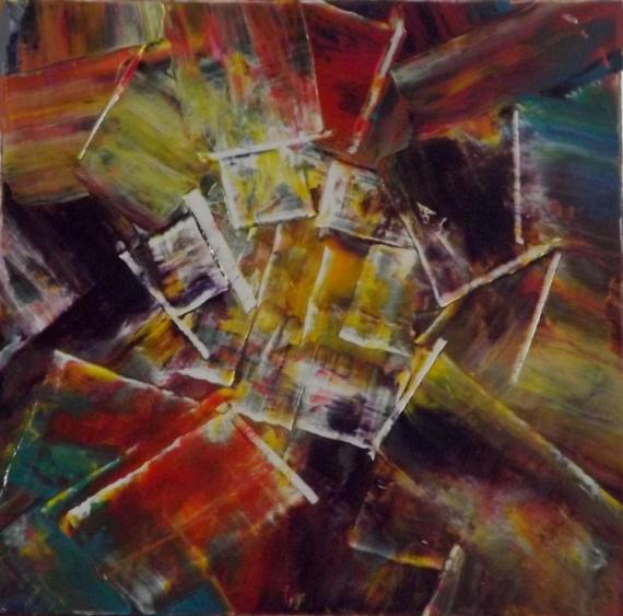 TABLEAU PEINTURE painture huile couteau toile sur châssis en multicolore Abstrait Peinture a l'huile  - Variations automnales