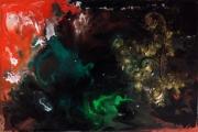 tableau abstrait abstrait acrylique noirvert rougeor : Fantaisie