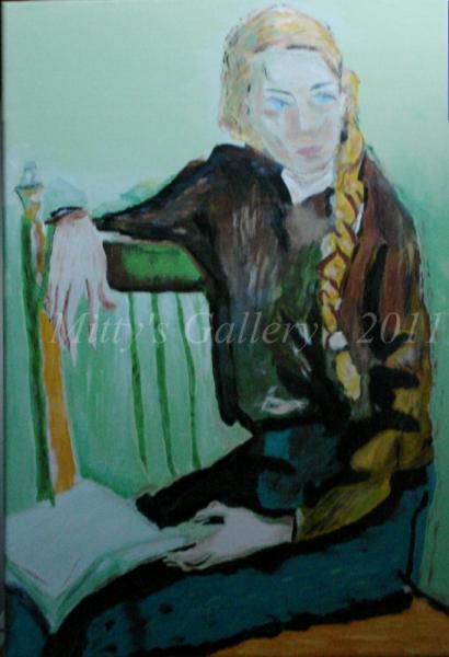 TABLEAU PEINTURE femme chaise livre vert-marron Personnages Acrylique  - Femme à la natte