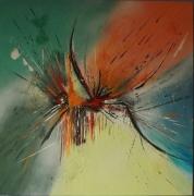 tableau abstrait abstrait technique mixte toile sur chassis jaunevertnoirroug : Comme un air de colibri