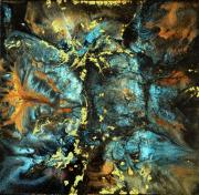 tableau abstrait resine camaleon et hologram toile sur chassis bleuturquoiseor : Ce que cache la nuit