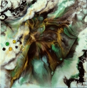 tableau abstrait resine poudres de mica col toile sur chassis : Rhadamanthe
