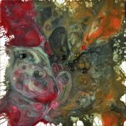 tableau abstrait resine pigmentsperles de v toile sur chassis rougeorbrunblanc : Amphitrite
