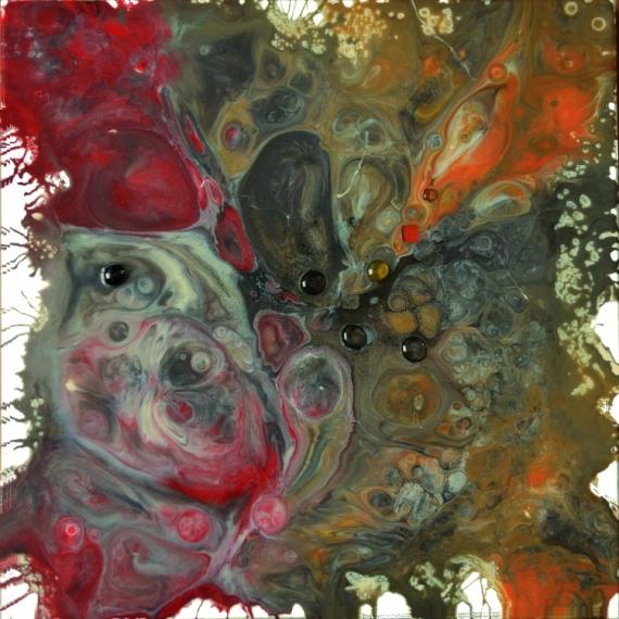 TABLEAU PEINTURE résine pigments,perles de v toile sur châssis rouge,or,brun,blanc Abstrait  - Amphitrite