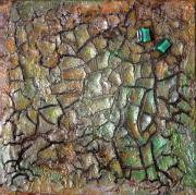 tableau abstrait abstrait acrylique encre cire ,a dorer : Chemins d'automne