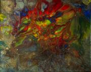 tableau autres abstrait resine toile sur chassis rouge : Khepri