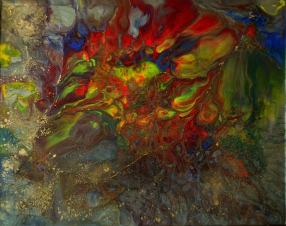 TABLEAU PEINTURE abstrait résine toile sur châssis rouge Acrylique  - Khepri