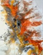 tableau abstrait resine poudres de mica toile sur chassis orangebrunblanc : Asclépios