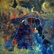 tableau abstrait abstrait toile sur chassis resine et pigments bleu : Anoukis