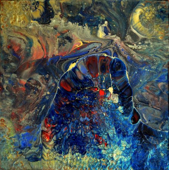PAINTING abstrait toile sur châssis résine et pigments bleu Abstrait  - Anoukis