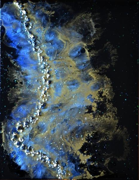 TABLEAU PEINTURE résine poudres de mica toile sur châssis or Abstrait  - Midas