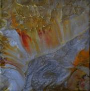 tableau abstrait abstrait resine pigments or : Douceur de vivre