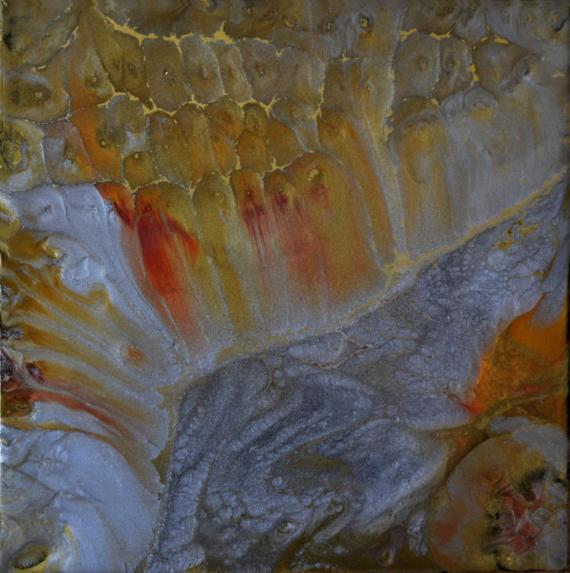 TABLEAU PEINTURE abstrait résine pigments or Abstrait  - Douceur de vivre