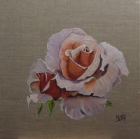 Rose parmi les roses sur lin