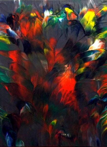 TABLEAU PEINTURE abstrait acrylique vert,rouge,blanc Abstrait Acrylique  - Bouquet de plumes