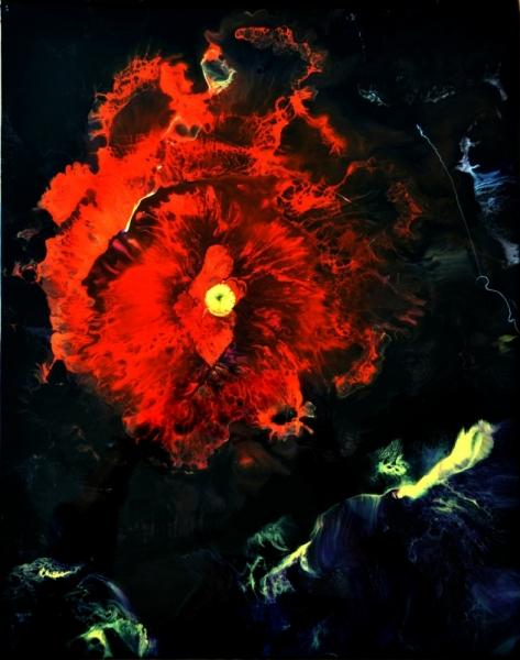 TABLEAU PEINTURE résine pigments toile sur châssis rouge,noir Abstrait  - Esculape