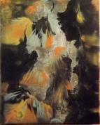 tableau abstrait abstrait acrylique et encres ornoircreme toile sur chassis : Ombres japonaises