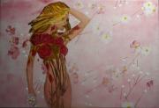 tableau personnages femme devetue roses feuilles : Femme Fleurs