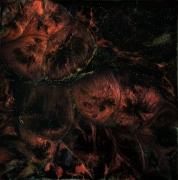 tableau abstrait resine camaleon et hologram toile sur chassis orbrunargent : Au delà de la nuit