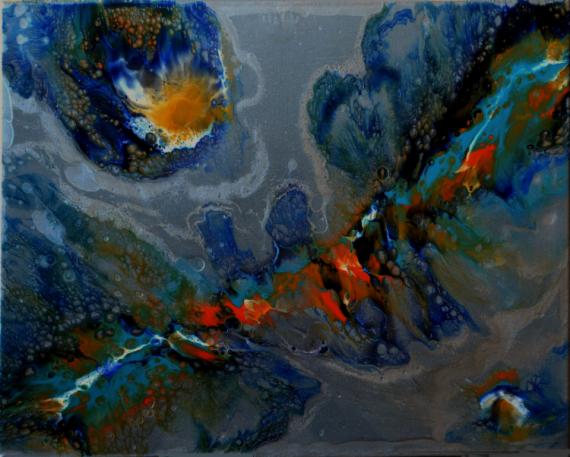 TABLEAU PEINTURE abstrait résine pigments toile sur châssis Abstrait  - Coronis