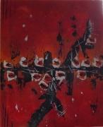 tableau abstrait abstrait acrylique et pate ,a toile sur chassis rougenoirblanc : Barbelés de roses