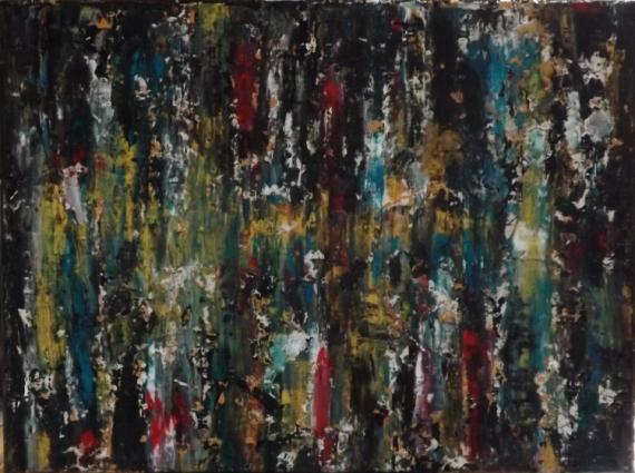 TABLEAU PEINTURE Huile et modeling pa toile sur châssis multicolor abstrait  - Au pied de mon arbre